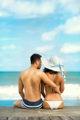 Couple on a tropical beach at Bali