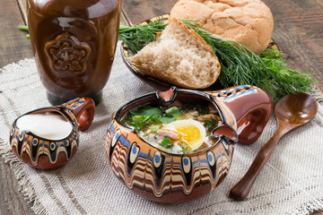 Russian traditional okroshka with kvass