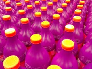 Colorful plastic bottles