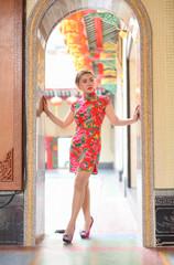 Chinese woman dress traditional cheongsams