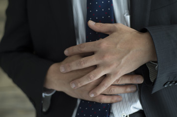 Businessman is sore stomach stress