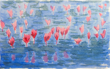 Watercolor of lotus flower.