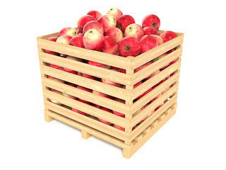 Red apples in the wooden crate