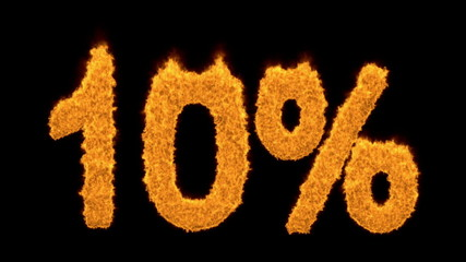 10 percent in fiery flaming golden numerals