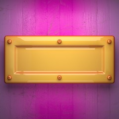 yellow metal and pink wood background