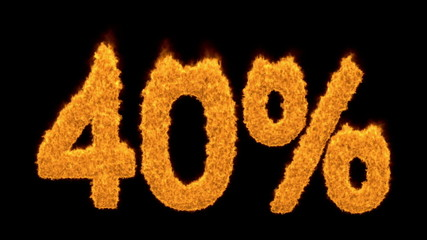40 percent in fiery flaming orange numerals