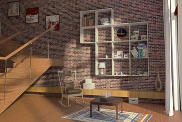 Интерьер в большом доме с кирпичной стеной