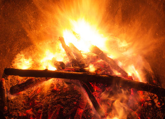 Wooden fire with coals burning
