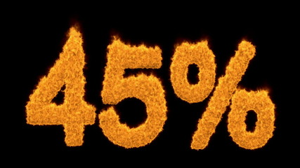 45 or forty-five percent written with fire fonts
