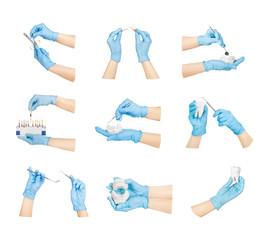Collection hands with dental tools