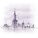 Fototapety Hand drawn sketch of the Statue of Liberty