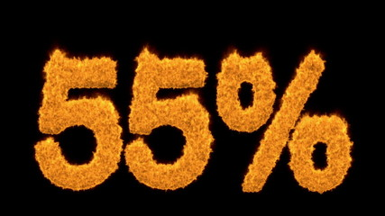 55 or fifty-five percent written with fire fonts