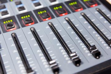 control panel at recording studio or radio station