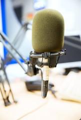 microphone at recording studio or radio station