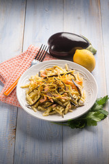 pasta with smoked salmon, eggplant and lemon peel