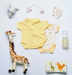 top view set of fashion trendy stuff and toys for newborn baby i