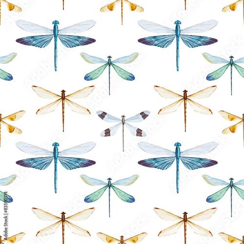 Tapeta Watercolor dragonflies pattern