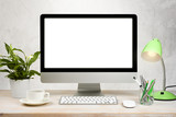 Fototapety Workspace background with desktop pc and office accessories