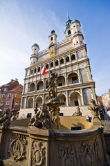 Fountain and town hall in Poznan, Poland