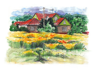 Rural watercolor landscape with old farmhouse.