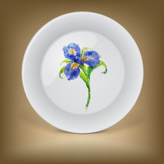 Decorative plate with blue watercolor iris flower .