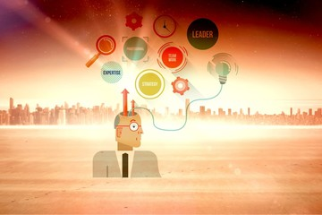 Composite image of thoughts of businessman