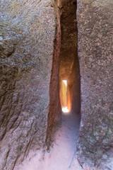Narrow passage into the rock