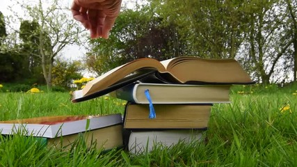 Fachliteratur auf der Wiese