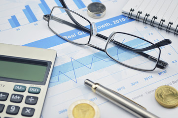 Glasses, calculator and coin on financial chart and graph, accou