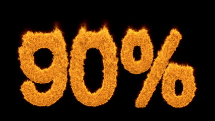 90 or ninety percent written with burning fonts