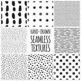 Fototapety Set of eight black and white seamless hand drawn textures