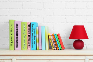 Textbooks on shelf close-up