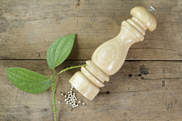 Pepper mill and leaves on wooden plank