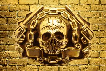 skull  guns on a background of golden brick wall