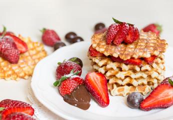 Belgian waffles with strawbery