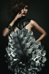 woman with big silver flower