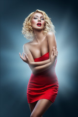 beauty fashion red dress blonde