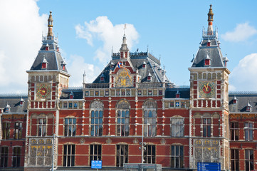 Facade of the Amsterdam Centraal Station, Netherlands.