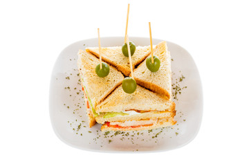 Chicken club sandwitch with vegetables