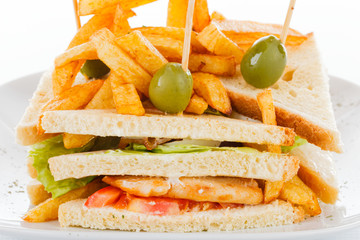 Decoratedextra club sandwich with meat and vegetables