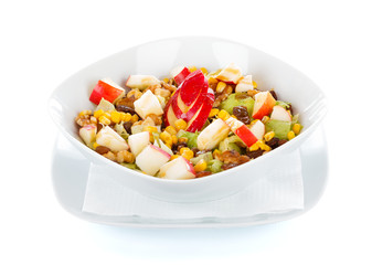 Honey and apple salad with vegetables