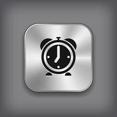 Alarm clock icon - vector metal app button