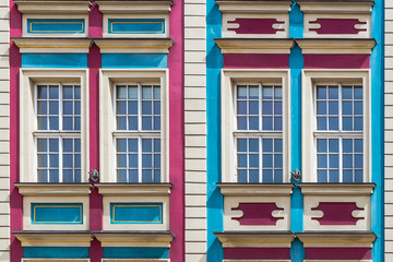 Facade of ancient tenement in the Old Town in Wroclaw, Poland.
