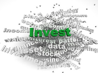 3d image Invest   issues concept word cloud background