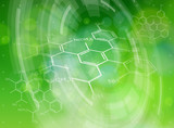 chemical formulas, radial HUD elements & green bokeh