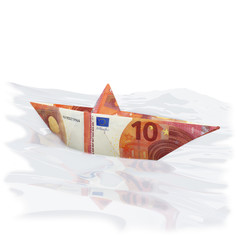 Papierschiffchen aus einem 10 Euro Schein
