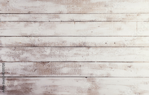 White wooden boards with texture as background Poster