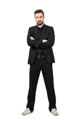 Angry businessman in suit and sneakers