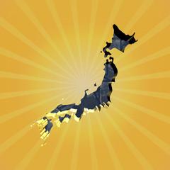 Japan map on Yen sunburst illustration