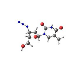 Zidovudine molecule isolated on white